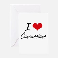 I love Concussions Artistic Design Greeting Cards