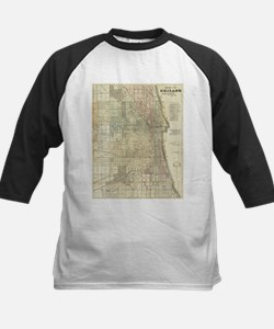 Vintage Map of Chicago (1857) Baseball Jersey
