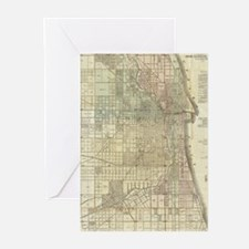 Vintage Map of Chicago (1857) Greeting Cards