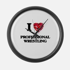 I Love Professional Wrestling Large Wall Clock