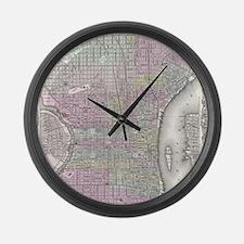 Vintage Map of Philadelphia (1855 Large Wall Clock