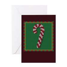 Knit Candy Cane Greeting Card