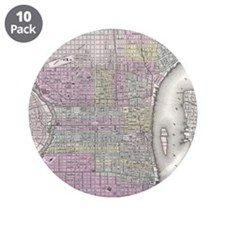 "Vintage Map of Philadelphia 3.5"" Button (10 pack)"