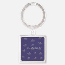 Cool Glossy Blue Square Keychain