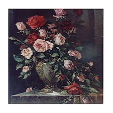 Painted Rose Bouquet Tile Coaster
