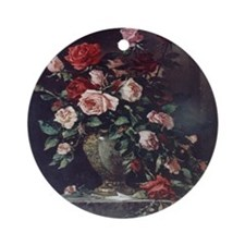 Painted Rose Bouquet Ornament (Round)