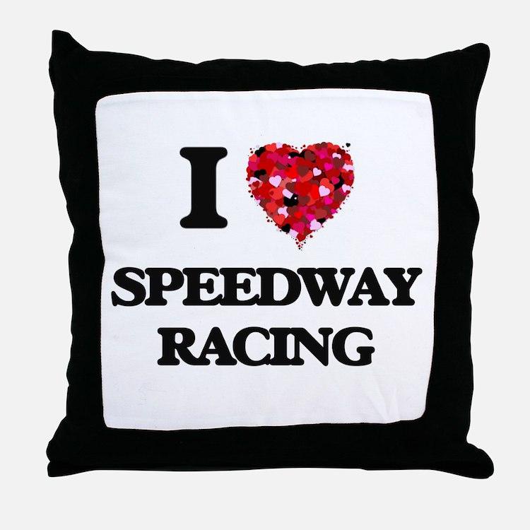 I Love Speedway Racing Throw Pillow