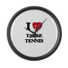 I Love Table Tennis Large Wall Clock
