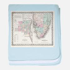 Vintage Map of Savannah and Charlesto baby blanket