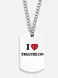 I Love Triathlon Dog Tags