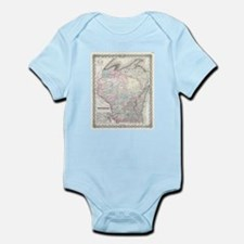 Vintage Map of Wisconsin (1855) Body Suit