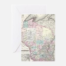Vintage Map of Wisconsin (1855) Greeting Cards