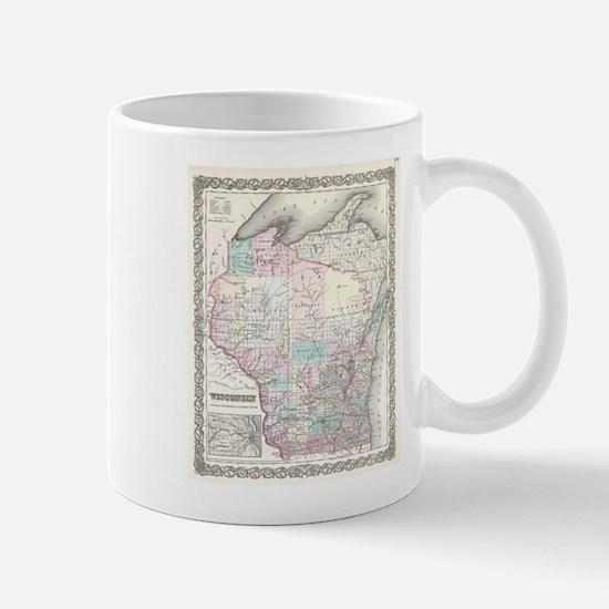 Vintage Map of Wisconsin (1855) Mugs