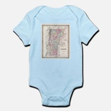Vintage Map of Vermont (1855) Body Suit
