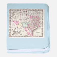 Vintage Map of Texas (1855) baby blanket