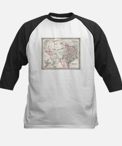 Vintage Map of Texas (1855) Baseball Jersey