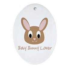 Baby Bunny Lover Oval Ornament