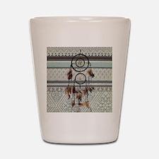 native tribal pattern dream catcher Shot Glass