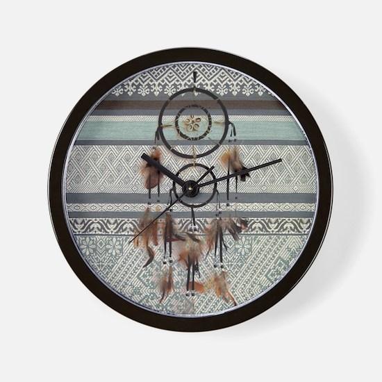 native tribal pattern dream catcher Wall Clock