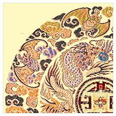 chinese dragon gold kimono Poster