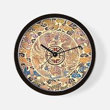 chinese dragon gold kimono Wall Clock