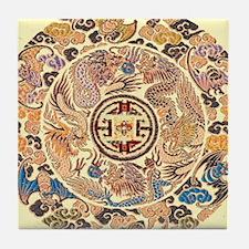 chinese dragon gold kimono Tile Coaster