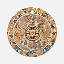 chinese dragon gold kimono Round Ornament