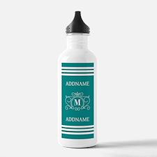 Modern Teal Victorian Water Bottle