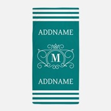 Modern Teal Victorian Stripes Monogram Beach Towel
