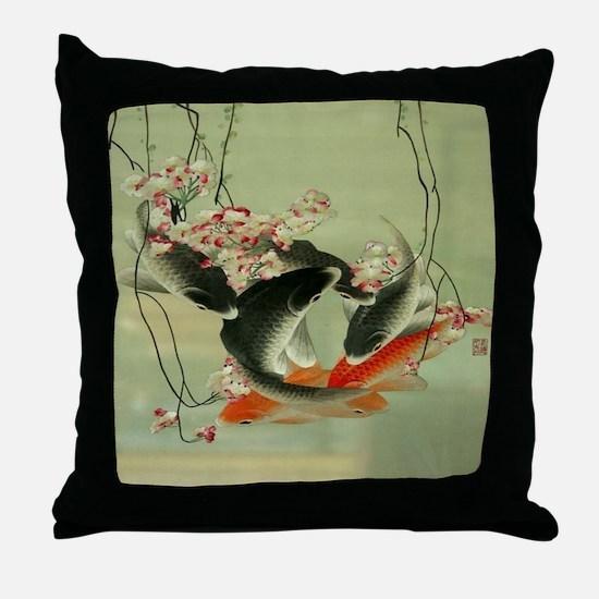 zen japanese koi fish Throw Pillow