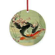 zen japanese koi fish Round Ornament