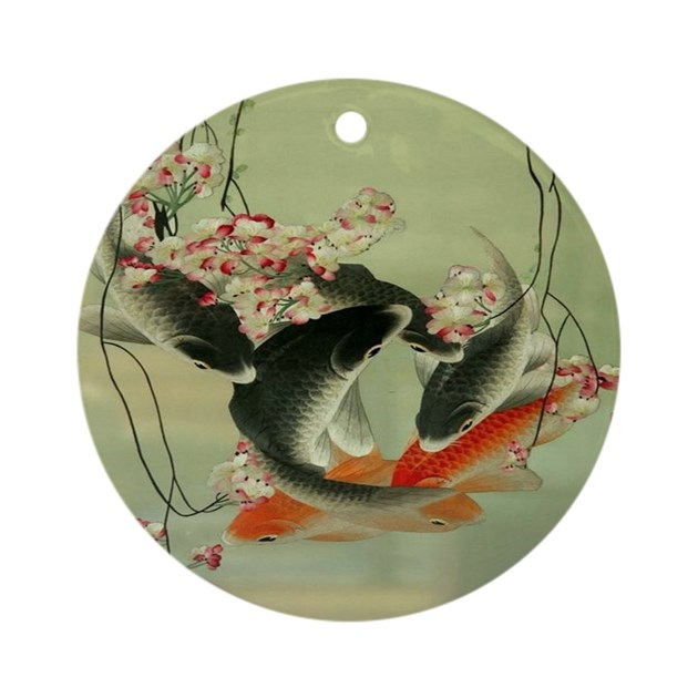 Zen japanese koi fish round ornament by listing store 62325139 for Koi fish ornament