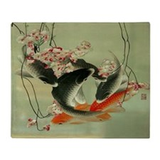 zen japanese koi fish Throw Blanket