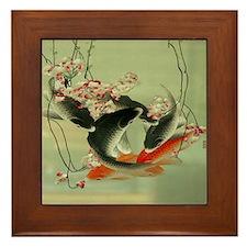 zen japanese koi fish Framed Tile