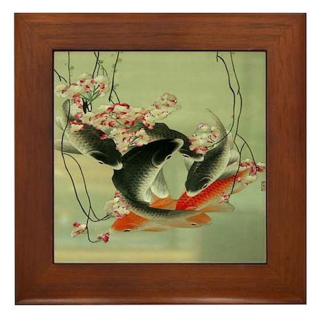 Zen japanese koi fish framed tile by listing store 62325139 for Koi fish store