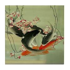 zen japanese koi fish Tile Coaster