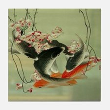 zen japanese koi fish Tile Coaster