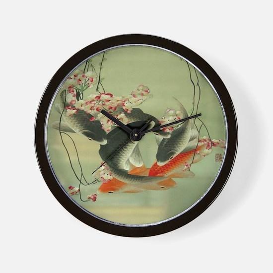zen japanese koi fish Wall Clock
