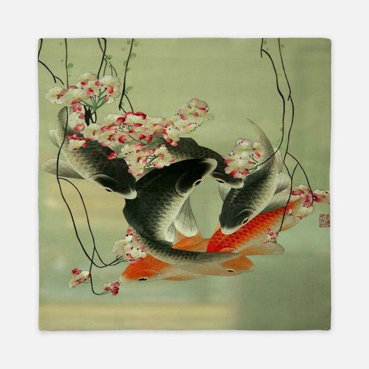zen japanese koi fish Queen Duvet