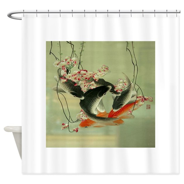 Zen japanese koi fish shower curtain by admin cp62325139 for Koi fish bathroom decorations