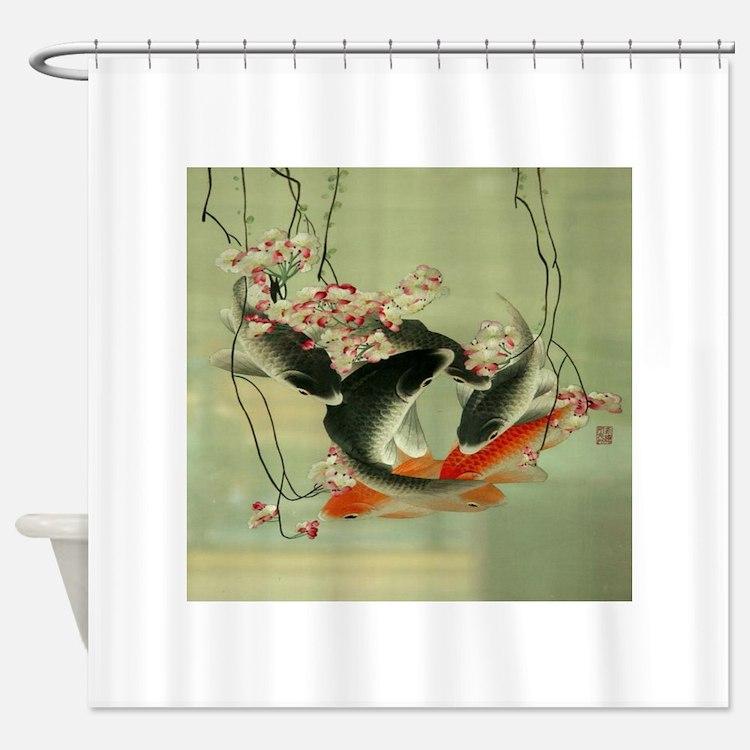 Japanese koi shower curtains japanese koi fabric shower for Koi fish bathroom decorations