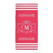 Personalized Monogram Hot Pink Beach Towel