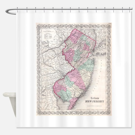 Vintage Map of New Jersey (1855) Shower Curtain