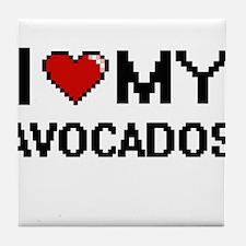 I Love My Avocados Digital design Tile Coaster