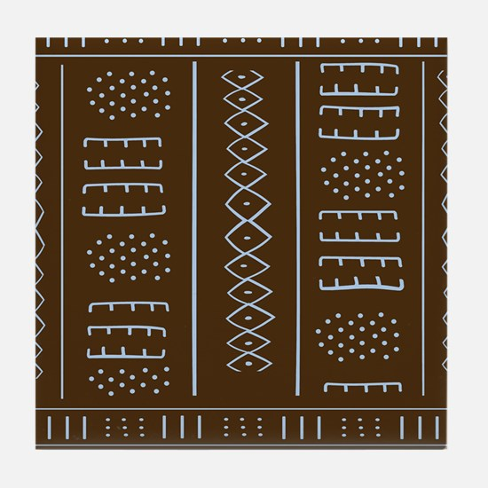 African Mud Cloth Pattern Tile Coaster