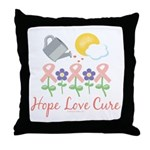 Flower Pink Ribbon Throw Pillow