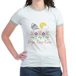 Flower Pink Ribbon Jr. Ringer T-Shirt