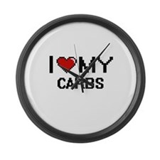 I Love My Carbs Digital design Large Wall Clock