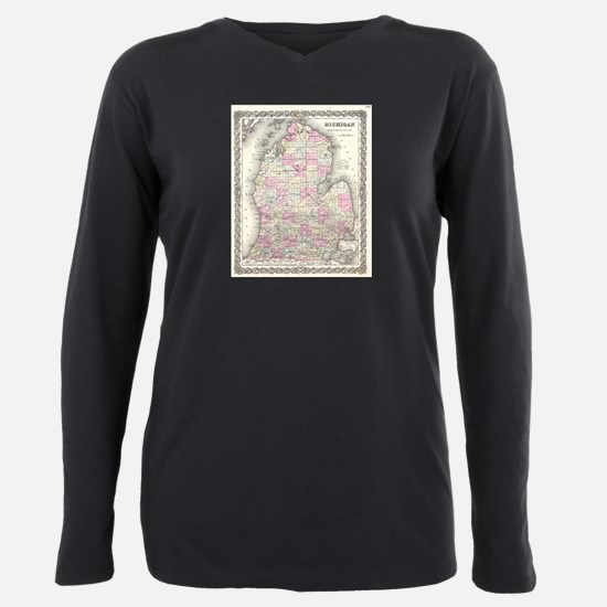 Vintage Map of Michigan Plus Size Long Sleeve Tee