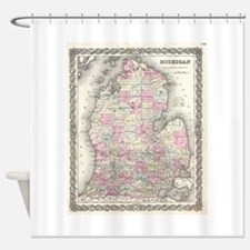 Vintage Map of Michigan (1855) Shower Curtain